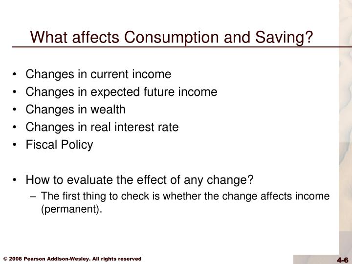 What affects Consumption and Saving?