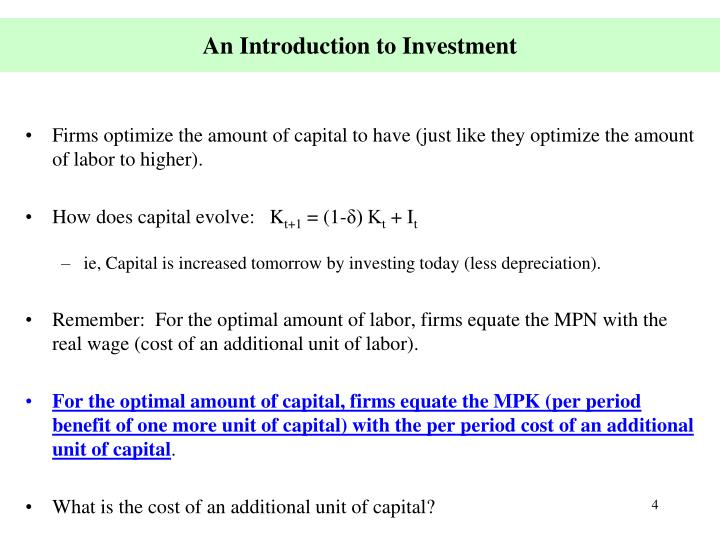 An Introduction to Investment