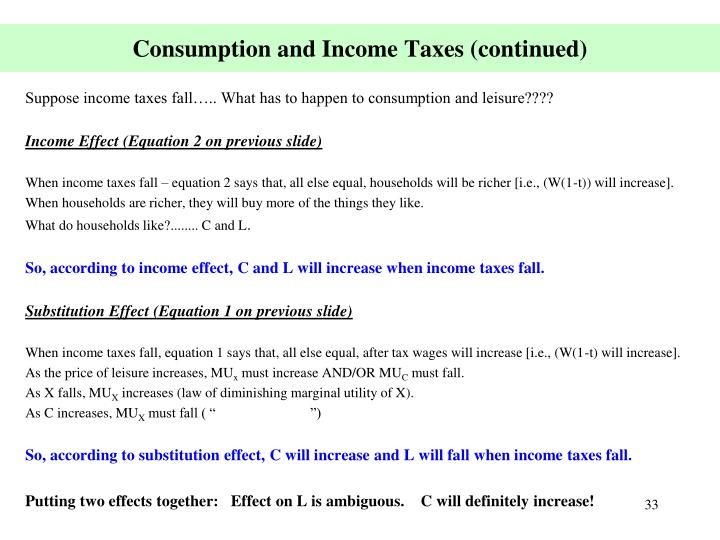 Consumption and Income Taxes (continued)