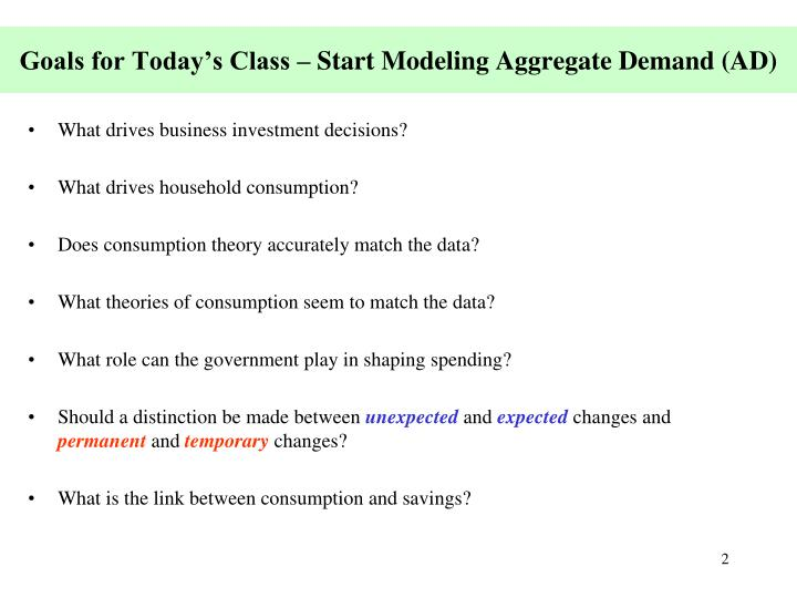 Goals for today s class start modeling aggregate demand ad
