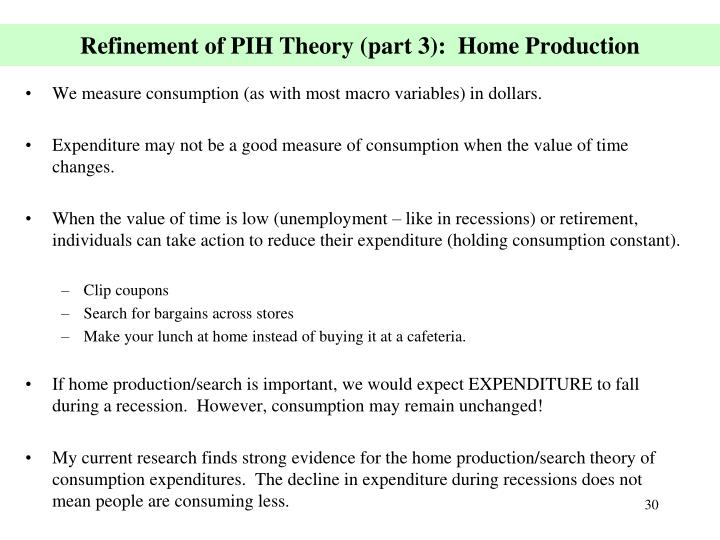 Refinement of PIH Theory (part 3):  Home Production