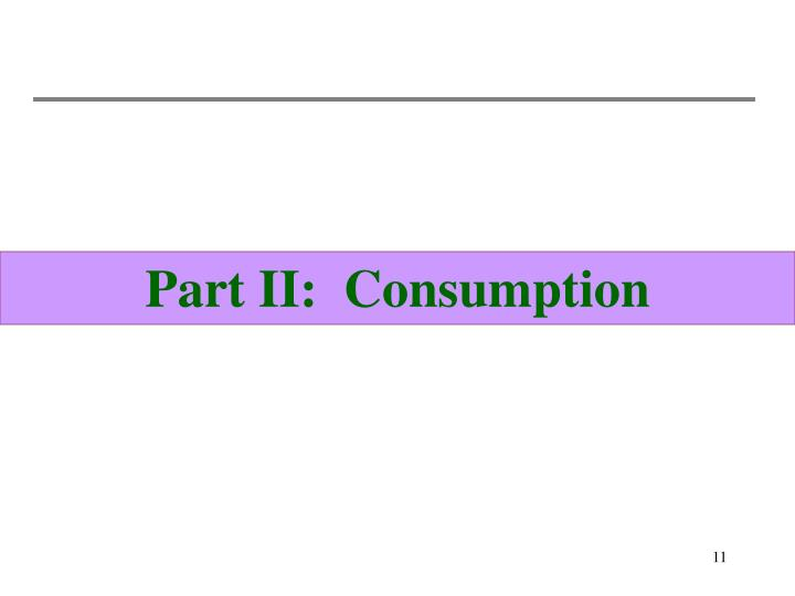 Part II:  Consumption