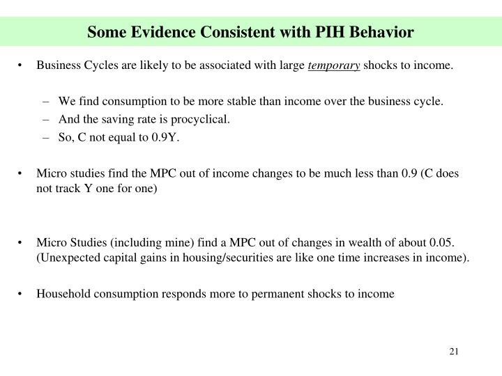 Some Evidence Consistent with PIH Behavior