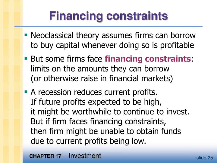 Financing constraints