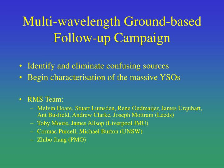 Multi-wavelength Ground-based Follow-up Campaign
