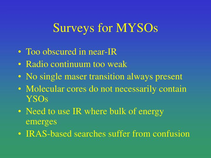 Surveys for MYSOs