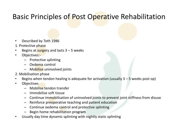 Basic Principles of Post Operative Rehabilitation