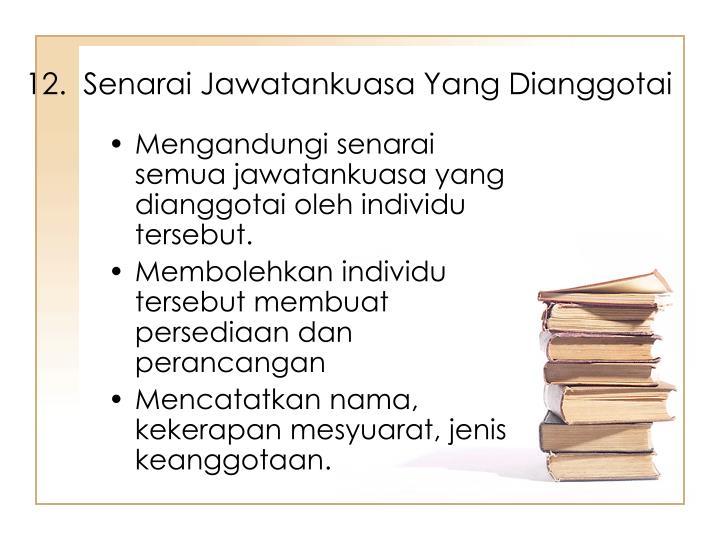 12.  Senarai Jawatankuasa Yang Dianggotai