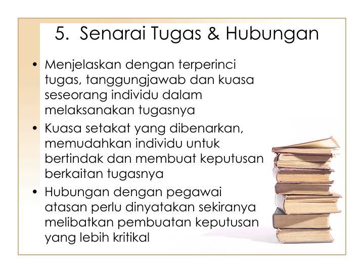 5.  Senarai Tugas & Hubungan