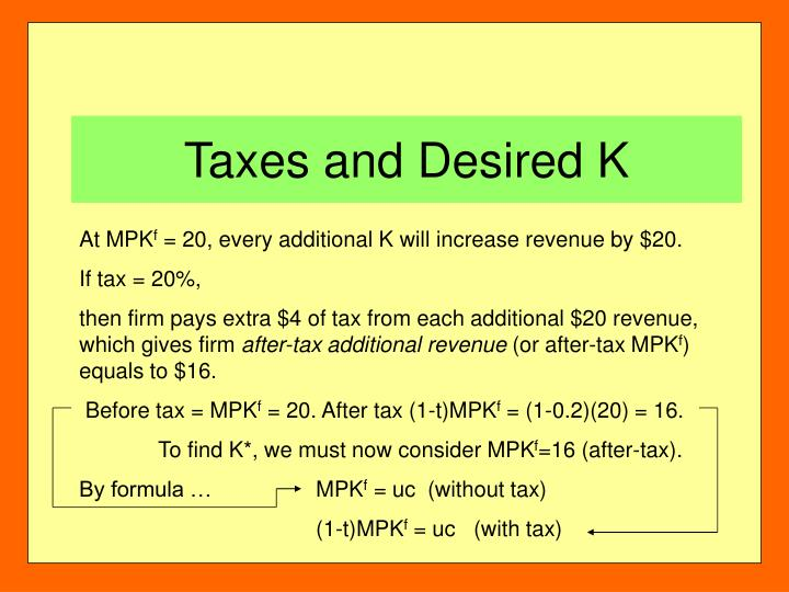 Taxes and Desired K