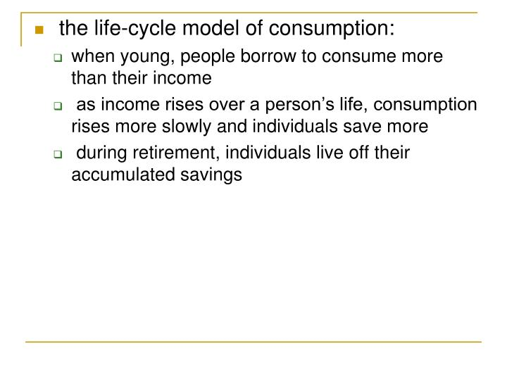 the life-cycle model of consumption:
