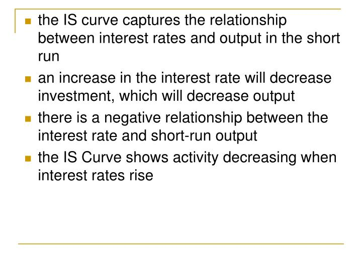 the IS curve captures the relationship between interest rates and output in the short run