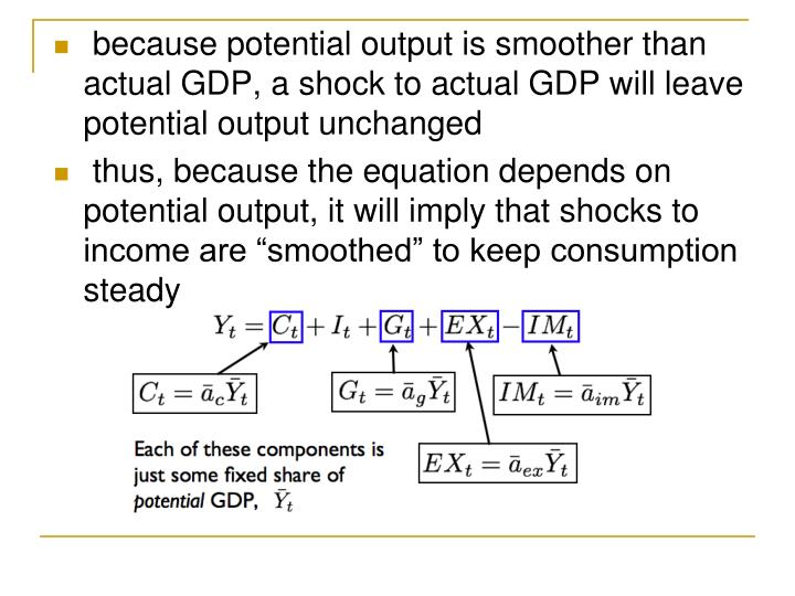 because potential output is smoother than actual GDP, a shock to actual GDP will leave potential output unchanged