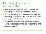 the effect of a change on the interest rate