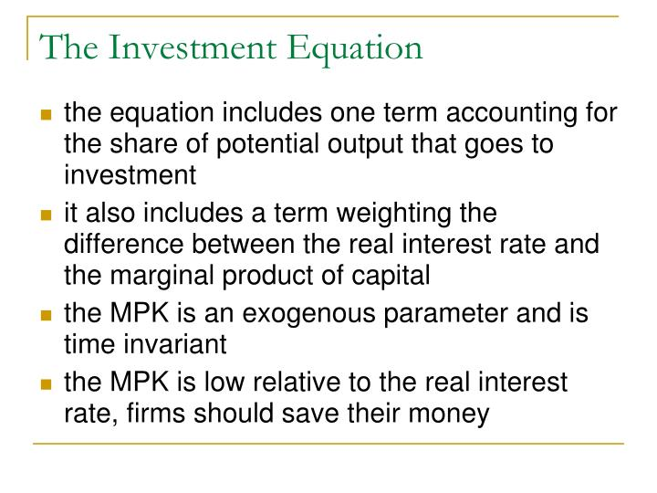 The Investment Equation