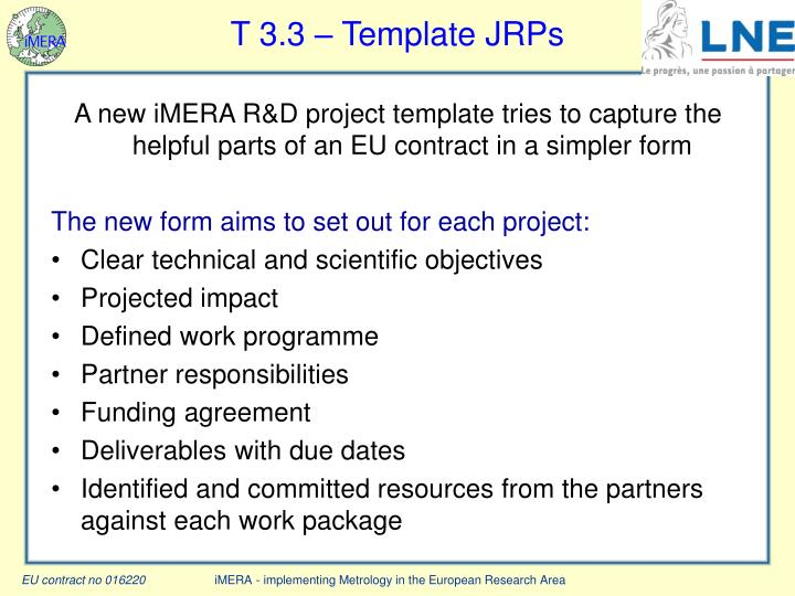T 3.3 – Template JRPs