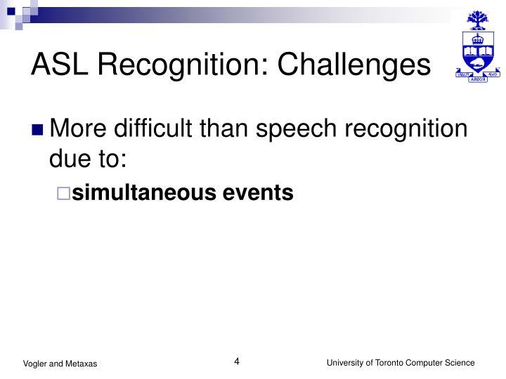 ASL Recognition: Challenges