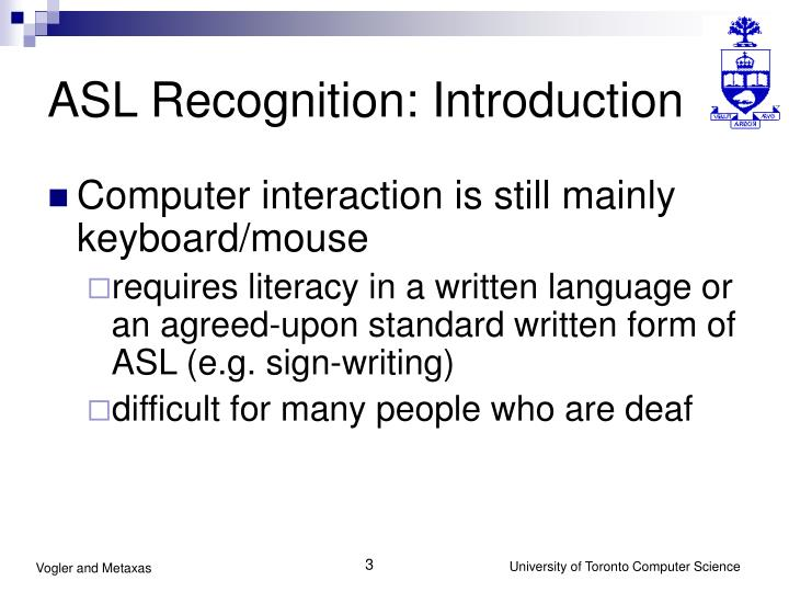 ASL Recognition: Introduction