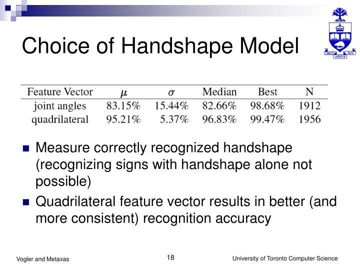 Choice of Handshape Model