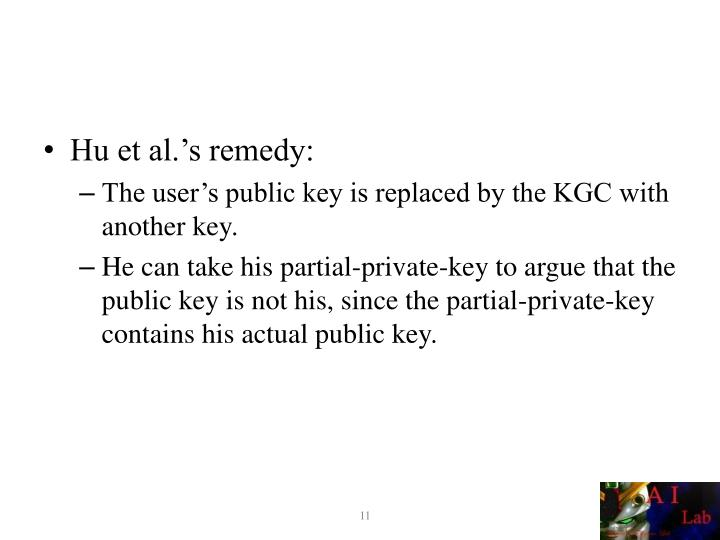 Hu et al.'s remedy: