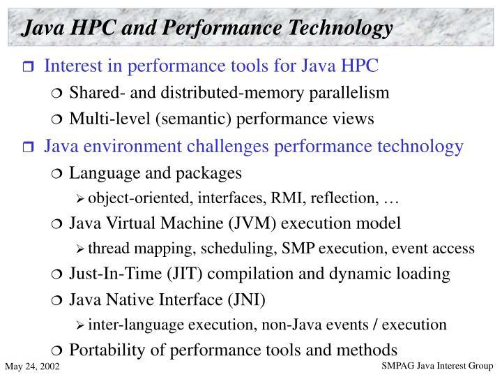 Java HPC and Performance Technology