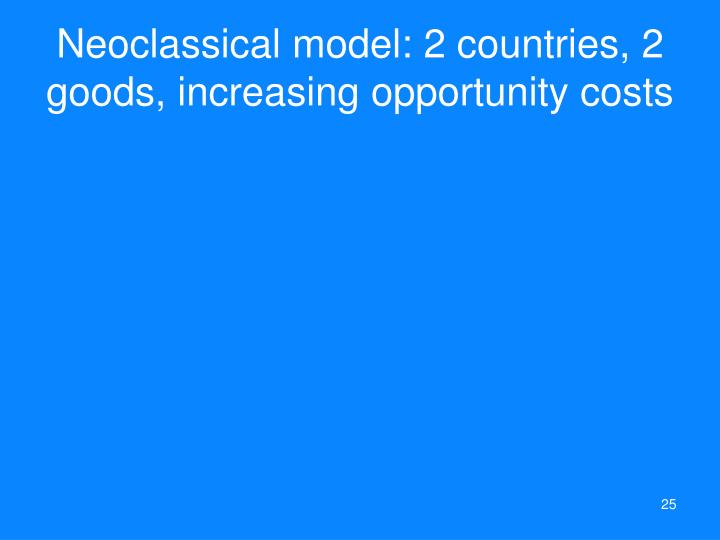 Neoclassical model: 2 countries, 2 goods, increasing opportunity costs