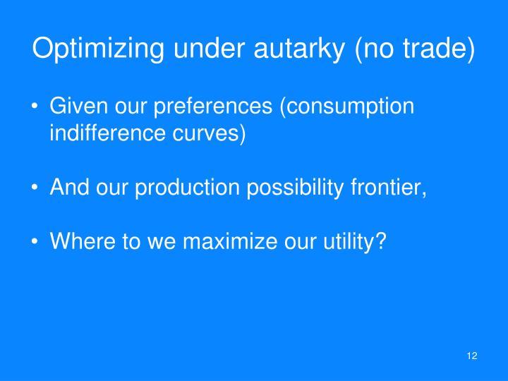 Optimizing under autarky (no trade)