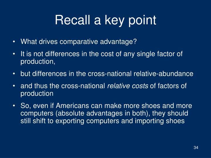 Recall a key point