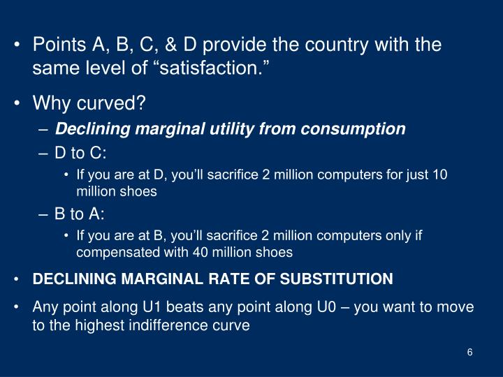 """Points A, B, C, & D provide the country with the same level of """"satisfaction."""""""