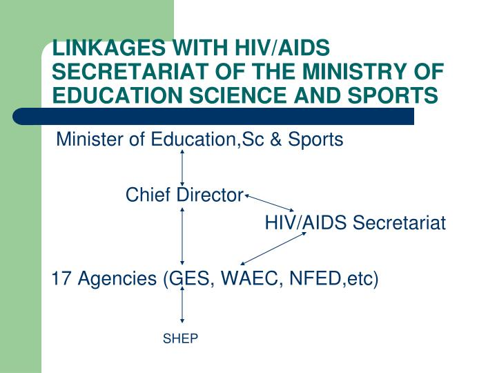 LINKAGES WITH HIV/AIDS SECRETARIAT OF THE MINISTRY OF EDUCATION SCIENCE AND SPORTS