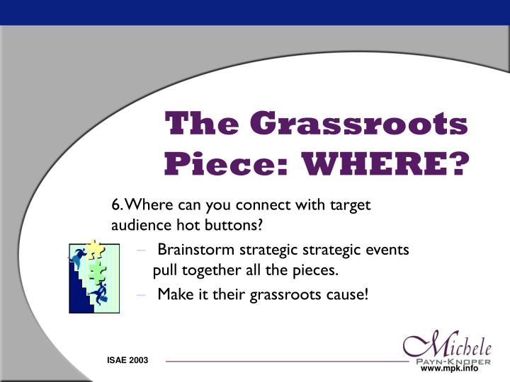 The Grassroots Piece:  WHERE?