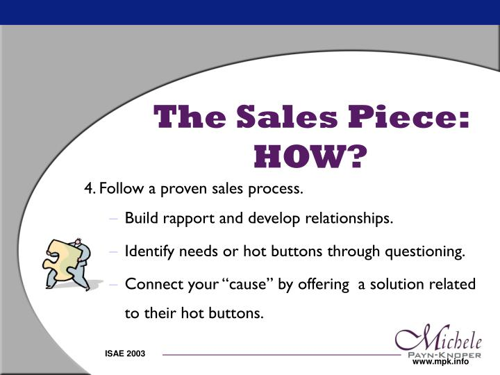 The Sales Piece:  HOW?