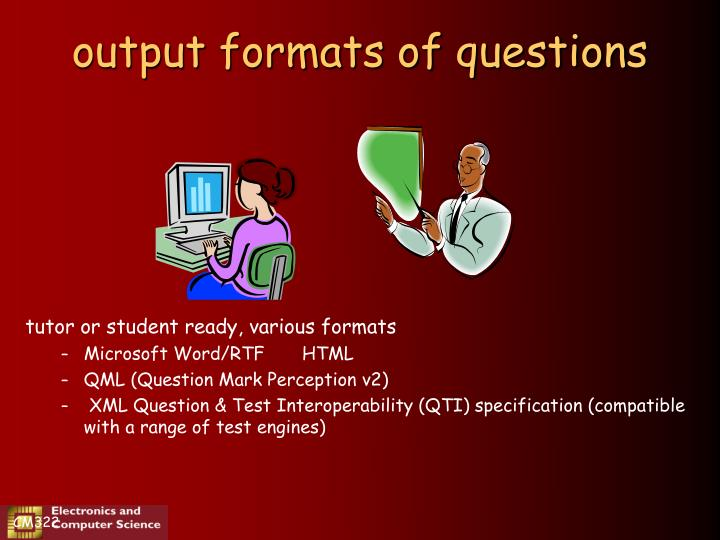 output formats of questions