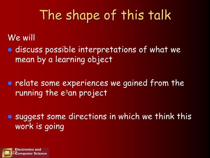 The shape of this talk