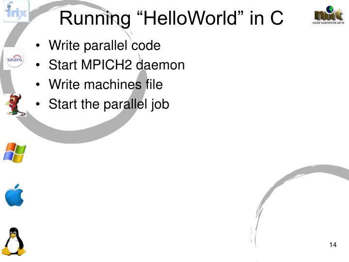 "Running ""HelloWorld"" in C"