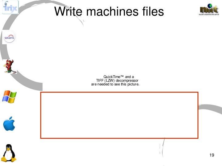 Write machines files