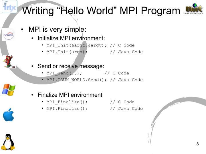 """Writing """"Hello World"""" MPI Program"""
