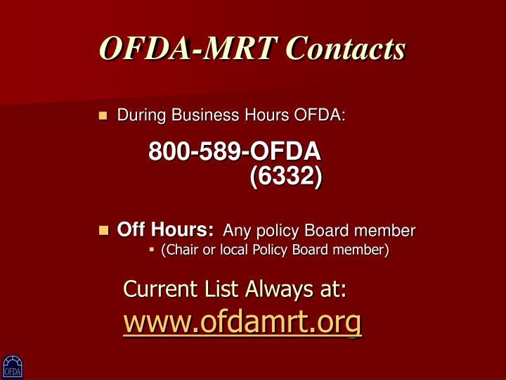 OFDA-MRT Contacts