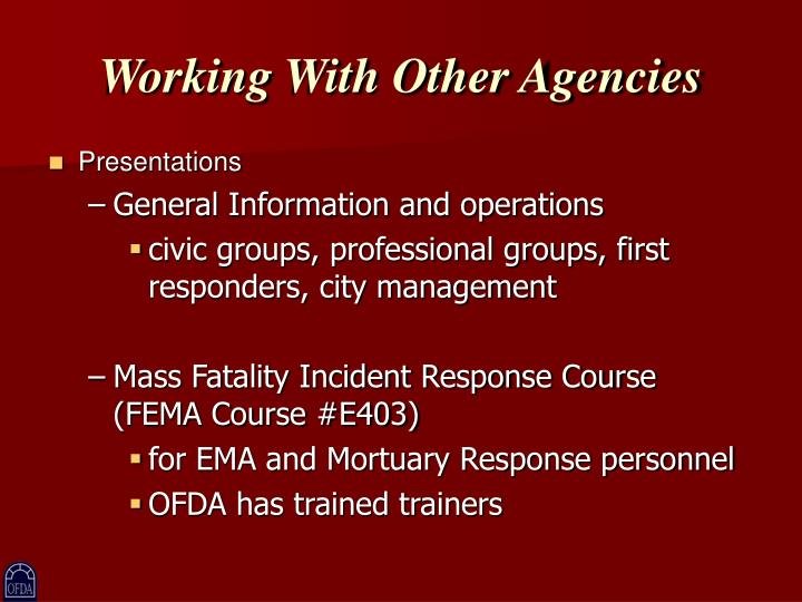 Working With Other Agencies