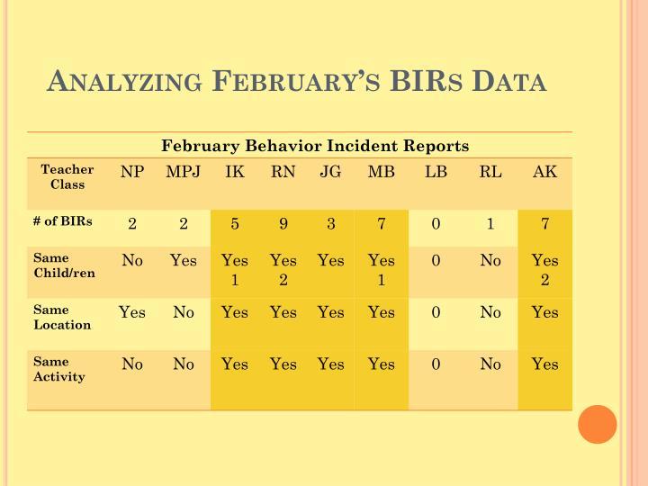Analyzing February's BIRs Data
