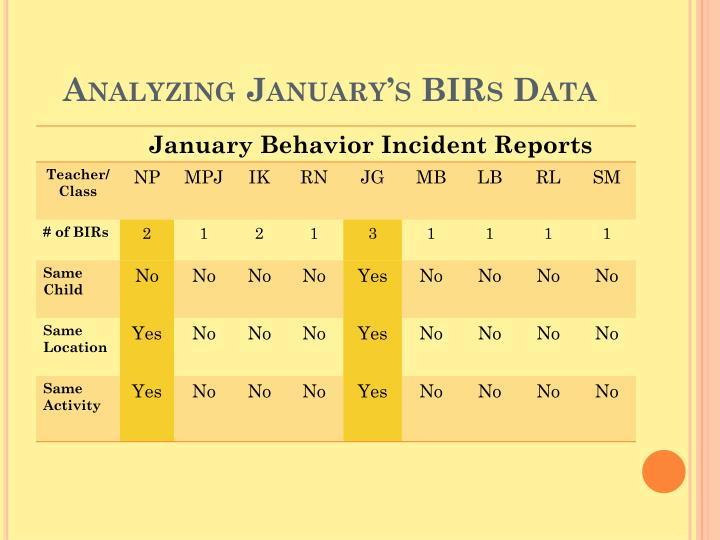 Analyzing January's BIRs Data
