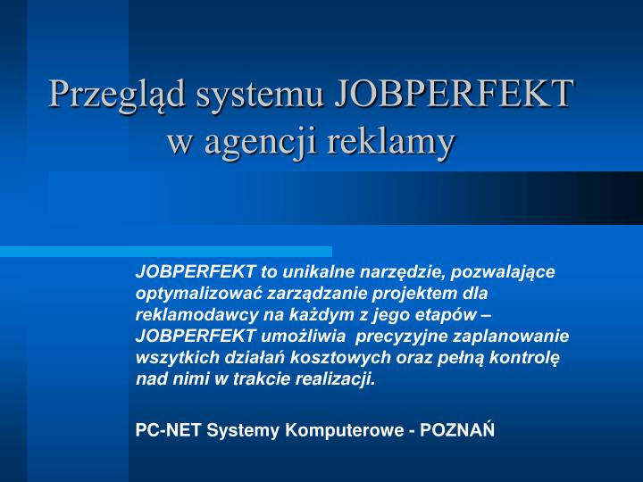 Przegląd systemu JOBPERFEKT