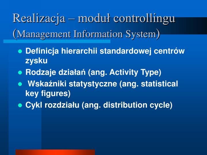 Realizacja – moduł controllingu (