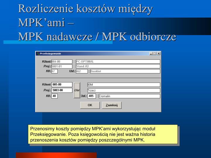 Rozliczenie kosztów między MPK'ami