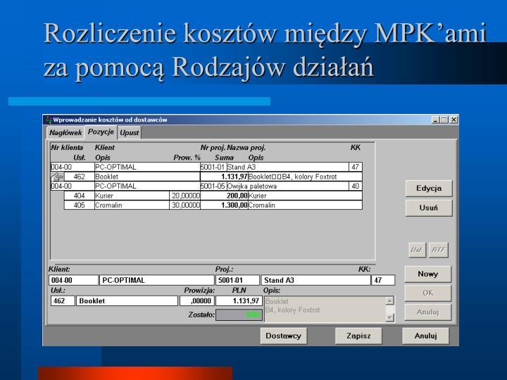 Rozliczenie kosztów między MPK'ami za pomocą Rodzajów działa