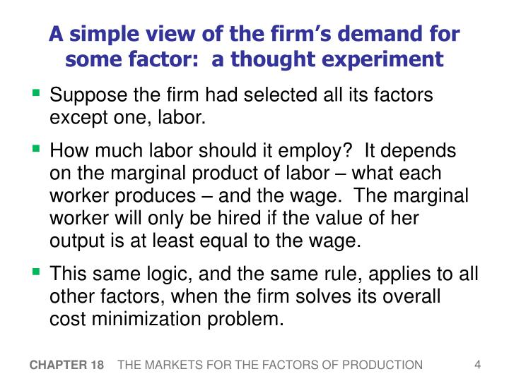 A simple view of the firm's demand for some factor:  a thought experiment