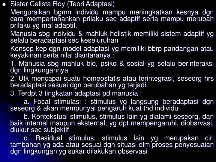 Sister Calista Roy (Teori Adaptasi)