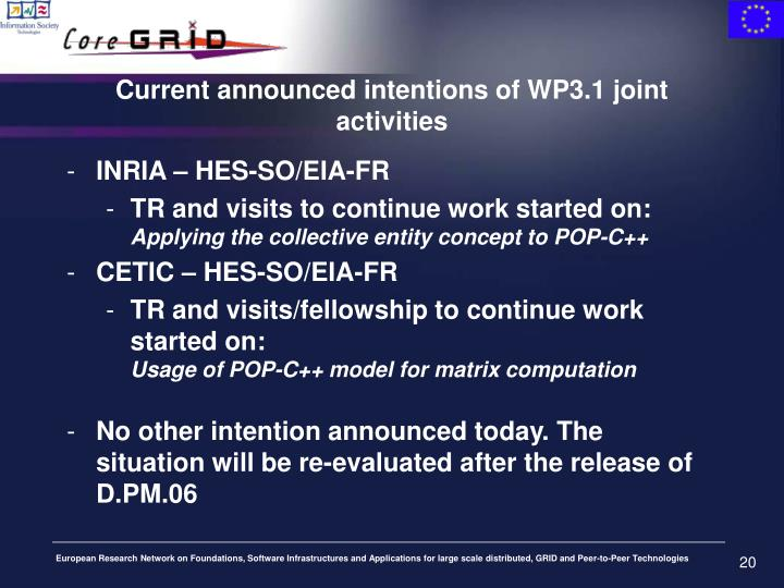Current announced intentions of WP3.1 joint activities