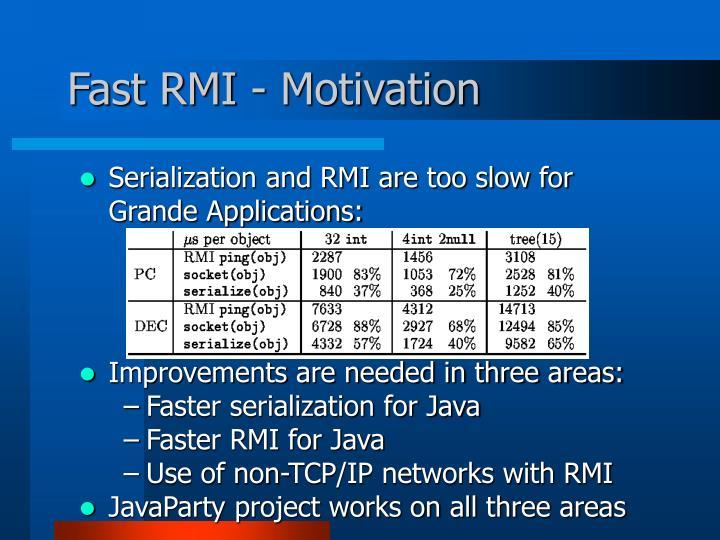 Fast RMI - Motivation
