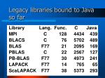 legacy libraries bound to java so far